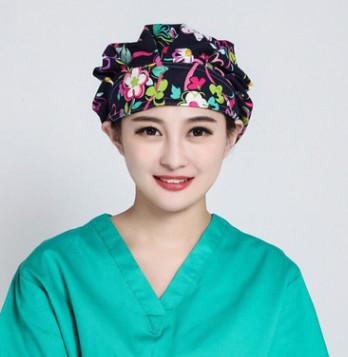 丝带花蓬蓬帽全棉印花手术帽手术室女款医生帽美容帽月子帽