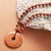平安扣吊坠 天然砭石项链 富贵红砭石平安扣 富贵红砭石
